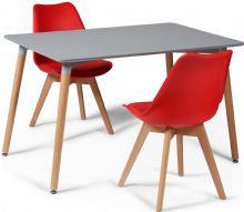 Toulouse Dining Set  - 120x80cms Grey Table & 2 Red Chairs
